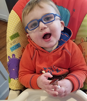 healthy toddler with glasses