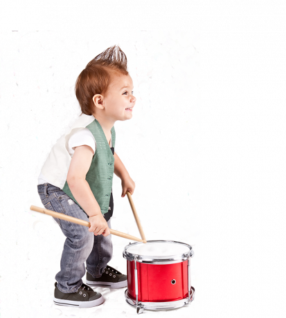 Healthy baby with drums