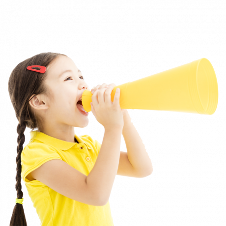 Healthy child with megaphone
