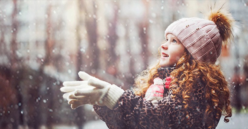 Healthy Child with snow