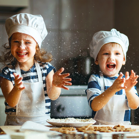 Healthy children baking