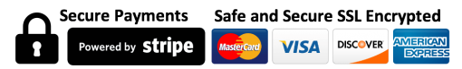 Payments by credit card are processed securely by Stripe; please enter a valid Visa, Mastercard, American Express, or Discover card